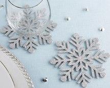 Portavasos de fieltro Snowflake Set de 4