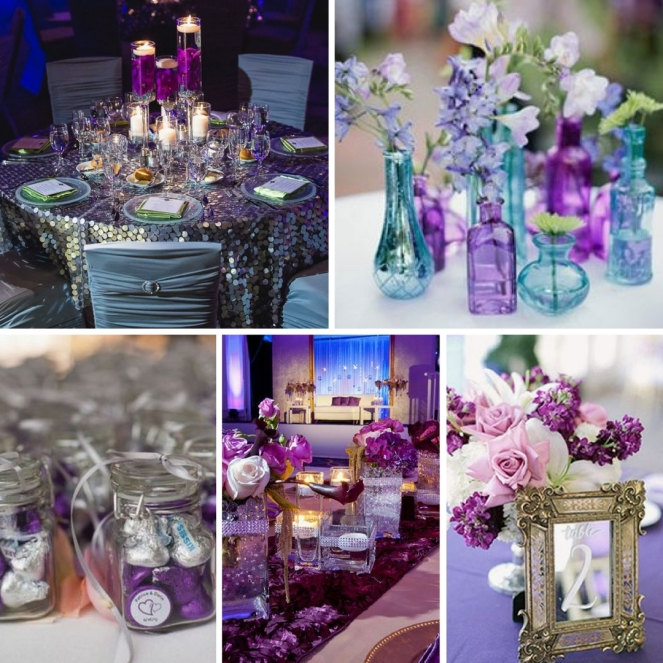 Purple decorations for a Quinceanera