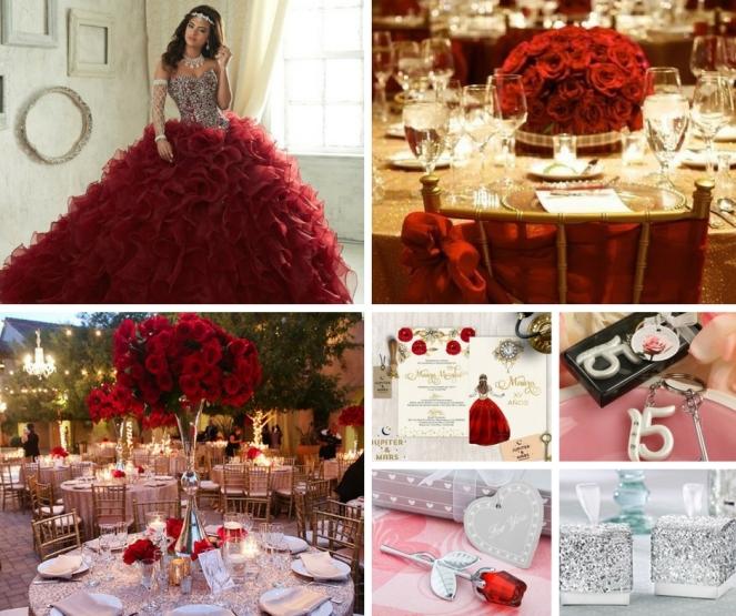 Rojo Vibrante Decoracion Quinceañera