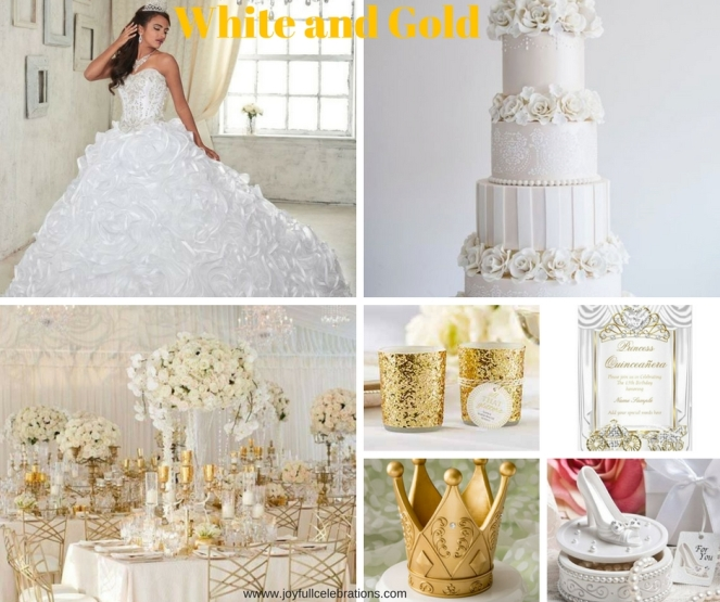 White and Gold Princess Quinceanera accessories