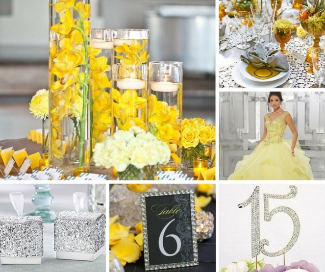 Yellow & Silver Decoracion para Quinceanera.jpg