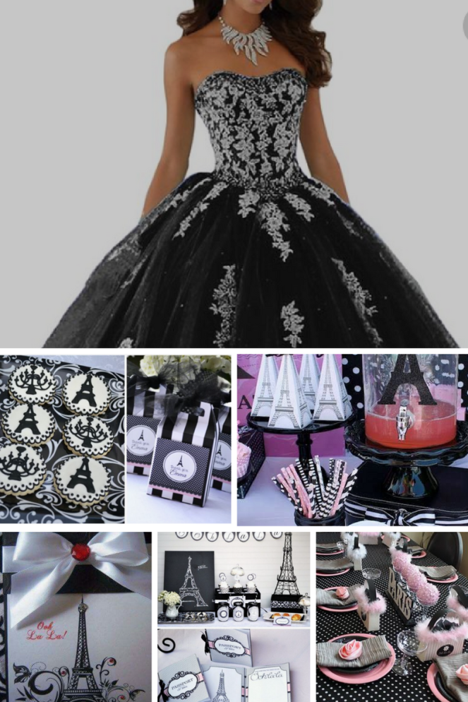 Black & White Paris theme Quinceanera